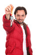Man in the jacket with keys