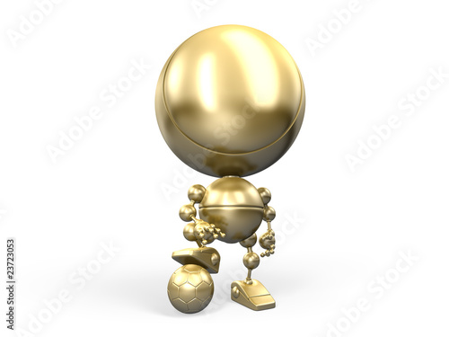 Golden winner with footbal ball