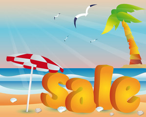 Beach sale with sea in 3d image. vector