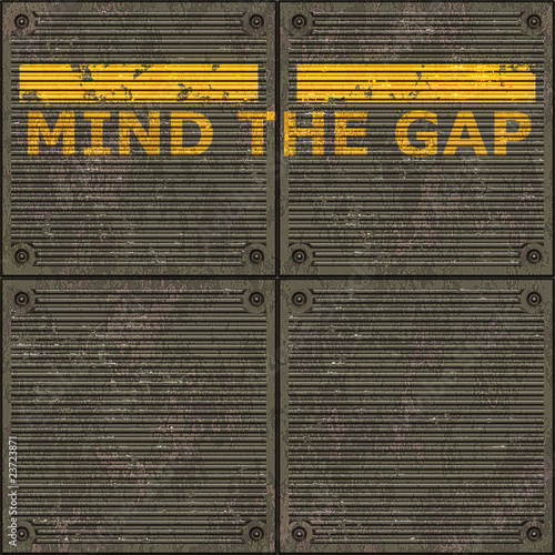 Fotobehang Kunstmatig Illustration of the London underground Mind The Gap typical sign