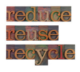 reduce, reuse and recycle - resource conservation poster
