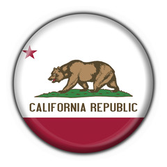 California (USA State) button flag round shape