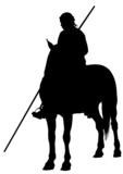 Knight with a spear on horseback poster