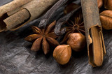 aromatic spices with brown sugar and nuts poster