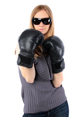boxing woman isolated on white