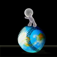 A soft toy rolling a baseball forward