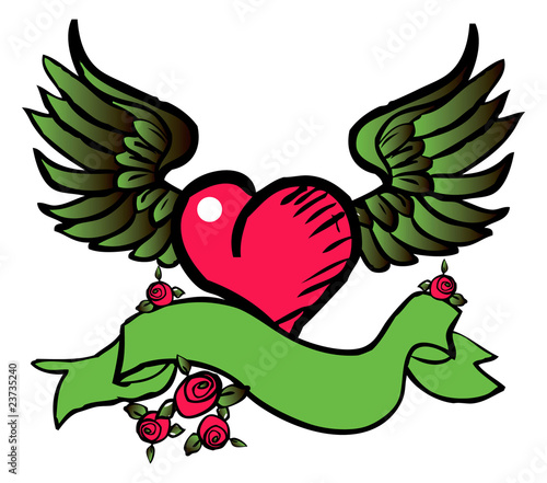 tatto style emblem, vector love, flower, fly icon, symbol eco