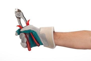 mano di operaio con pinza