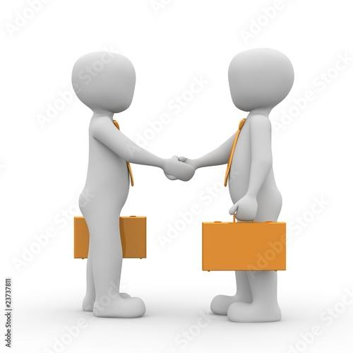 zwei 3d Menschen geben sich die Hand