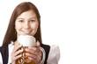 glückliche bayerische Frau mit Oktoberfest Mass Bier