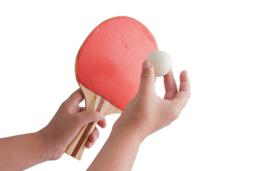 TABLE TENNIS RACKET AND BALL .