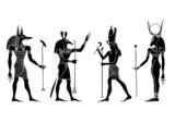 Egyptian gods and goddess - vector poster