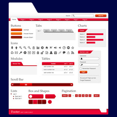 Web Design Elements 2 (Red Theme) Vector