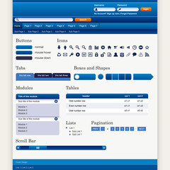 Web Design Elements 1 (Blue Theme) Vector