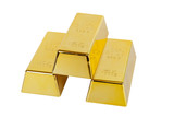 Gold ingot with hand made clipping path poster
