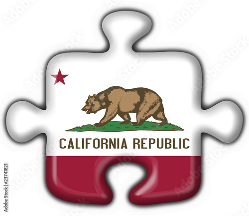 California (USA State) button flag puzzle shape