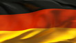 Creased German satin flag in wind with seams and wrinkle