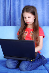 hard day in learning - girl with laptop