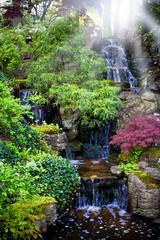 Colorful waterfalls in dutch spring garden 'Keukenhof' in Hollan