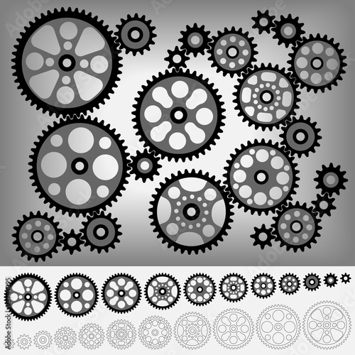Collection of gears totally compatible each other