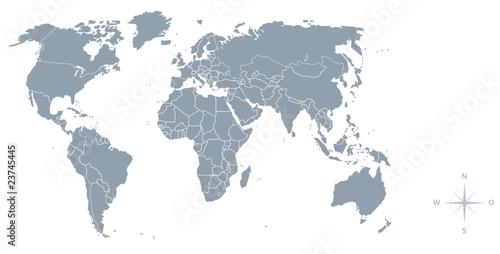 granice z mapy świata, kompas