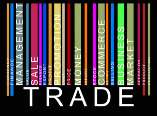 colorful trade text barcode, vector