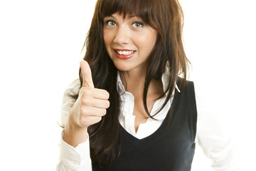 lovely woman with thumbs up