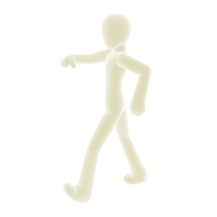 white person walking left