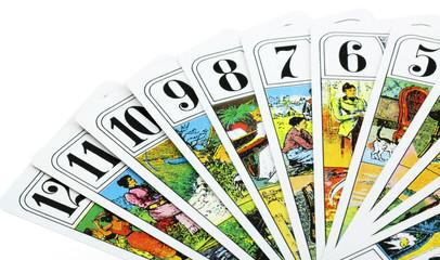 cartes de tarot, fond blanc