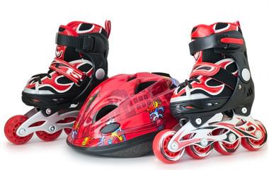 Red-black roller-scates and helmet for children