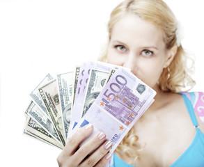 Beautiful girl with money