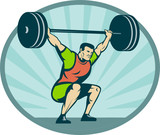 weightlifter lifting heavy weights poster