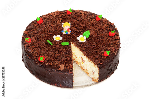 cheese cake with chocolate decorated with strawberries and angel
