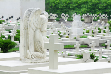 grieving angel on the military cemetery