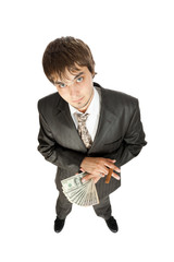 young businessman holding money and a cigar, fisheye, isolated o