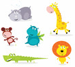 Six cute safari animals - giraffe, croc, rhino, hippo, lion...