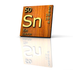 Tin form Periodic Table of Elements  - wood board