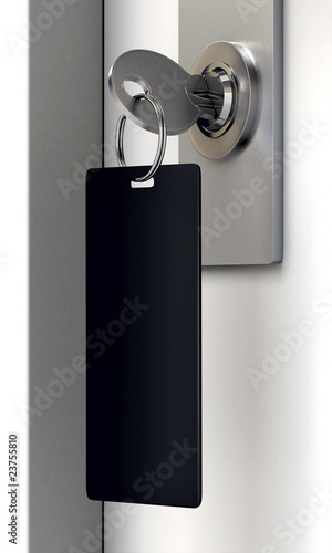 Door lock with key and keyring