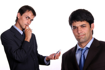 business men working on pda or smartphone