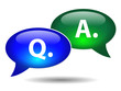 """Q & A"" Speech Bubble Icons (web buttons questions answers faqs)"