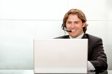 Business man with a headset