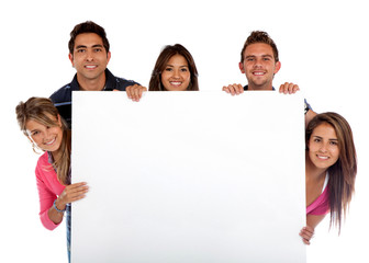 People with a banner