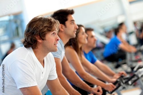 People spinning at the gym