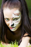 Woman with tigress face art portrait poster