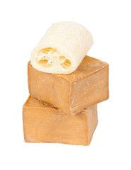 Traditional laurel soaps with lufah sponge,