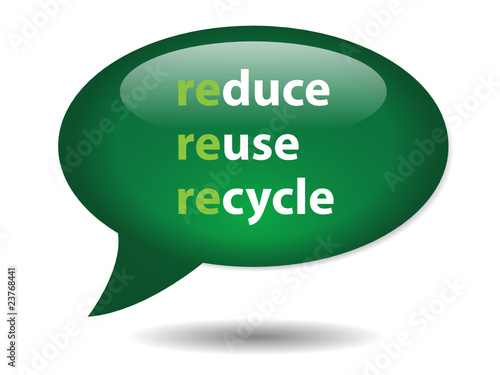 REDUCE REUSE RECYCLE Speech Bubble Icon (button go green nature)