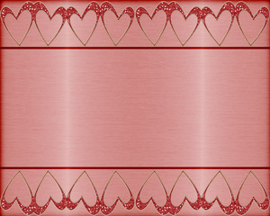 hearts background on brushed metal