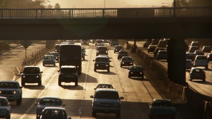 Freeway time lapse at magic hour