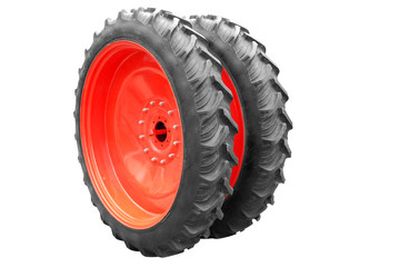 tractor big wheel isolated on white background