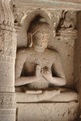 Buddha statue at Ajanta, famous cave temple complex of India